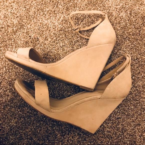 d8befdddb02 Aldo Shoes - Aldo - Nude Suede Wedge Heels